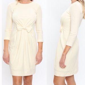 Carmen Marc Valvo White Knit Dress Bow Detail